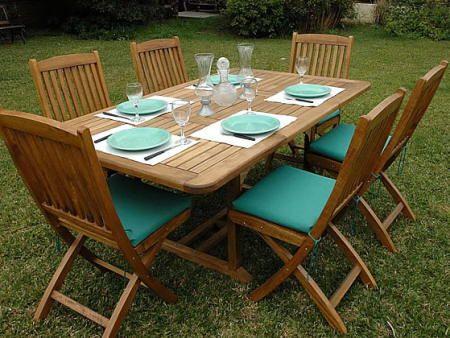 Mesa de jard n de madera ideas para la casita for Mesas de madera para jardin