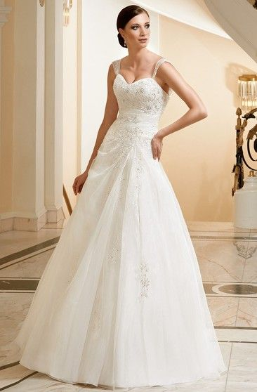 88db5190253 A-Line Sleeveless Appliqued Strapped Floor-Length Lace Satin Wedding Dress  With Draping