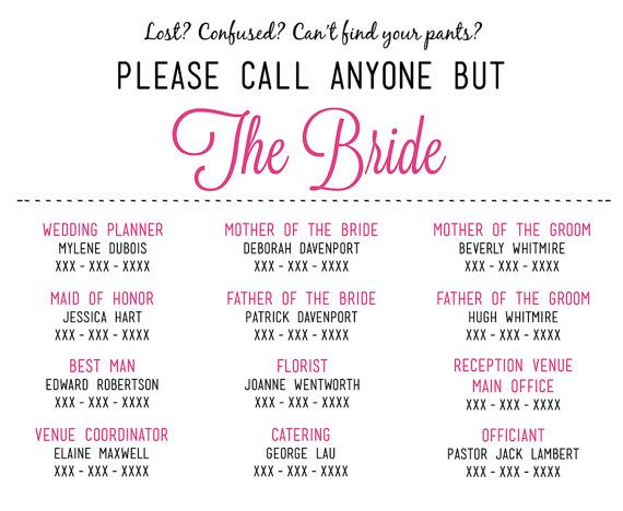 Please Call Anyone But The Bride  Wedding Insert Information Card