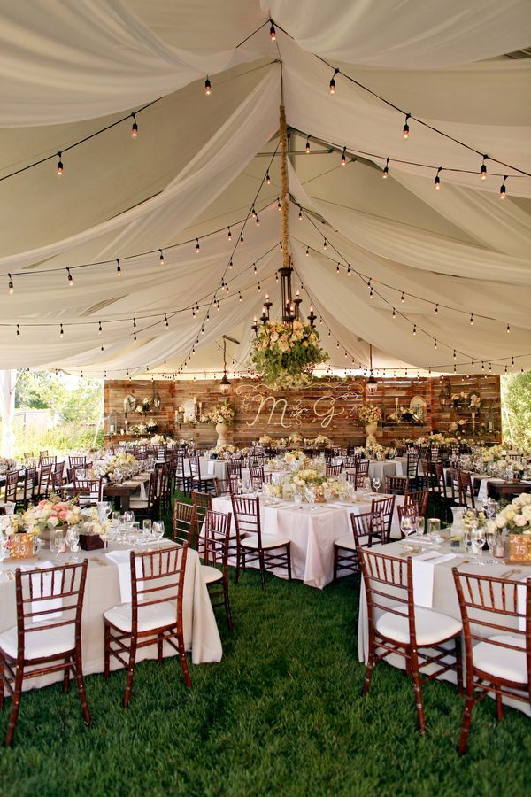 18 stunning wedding reception decoration ideas to steal wedding tented rustic themed wedding reception ideas with hanging lights junglespirit Image collections