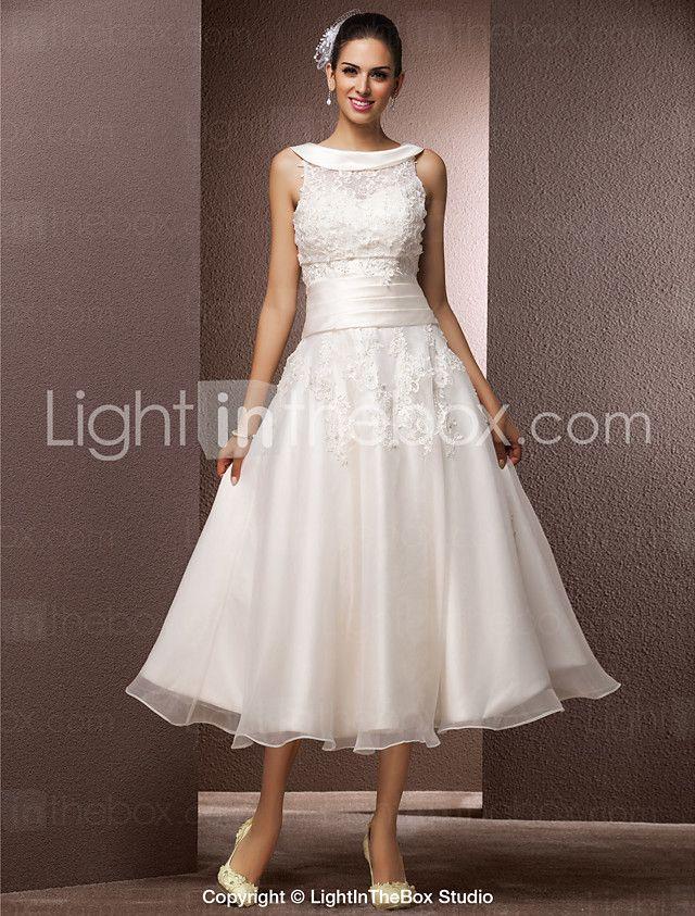 ac16d4f162e Lanting Bride A-line Petite   Plus Sizes Wedding Dress-Tea-length Jewel  Organza 2016 - ₪479.56