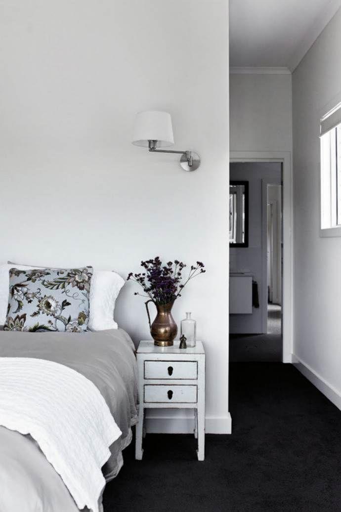 Bedrooms we love   Grey bedroom with pop of color, Black ...
