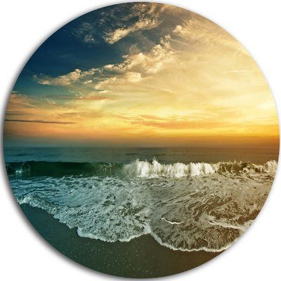 "DesignArt 'Beach Panorama' Photographic Print on Metal Size: 23"" H x 23"" W x 1"" D"