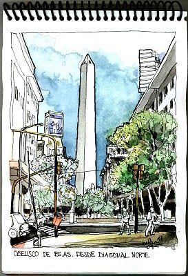 Desde la diagonal Norte, Roque Saenz Peña: la transformación de este sector, en vía exclusivamente peatonal otorgó al obelisco un escenario...