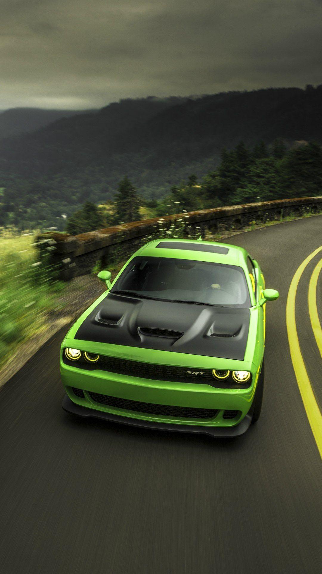 Dodge Challenger Hellcat Green Road 1080x1920 Dodge Challenger