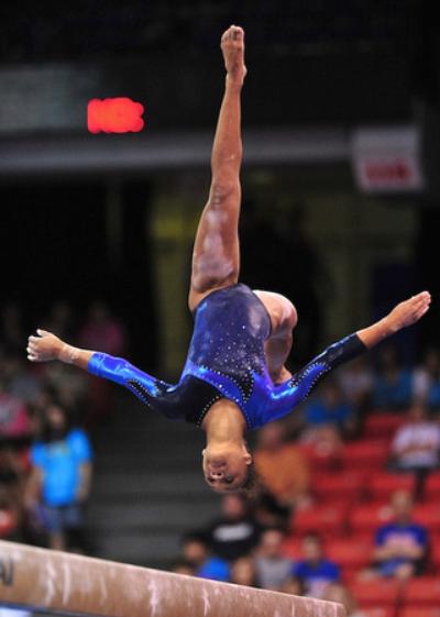 Kytra Hunter (United States) on balance beam at the 2010 ...