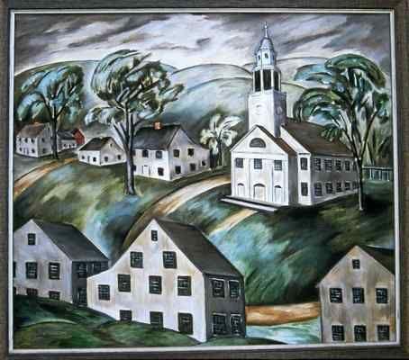 """White Houses, White Church, Woodbury"" by Natalie Van Vleck."