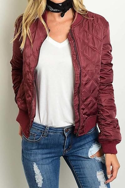 The Quilted Burgundy Bomber Jacket Is A Must Have This Fall And Will