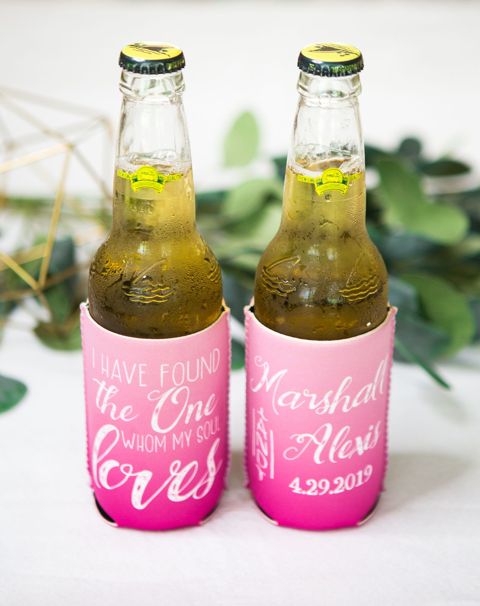 Wedding Favor Drink Holders, Personalized Ombre Style Wedding Favors ...
