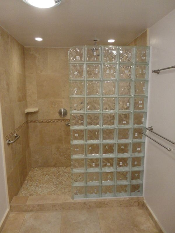Glass Block Master Bath Bathroom Design Small Small Shower