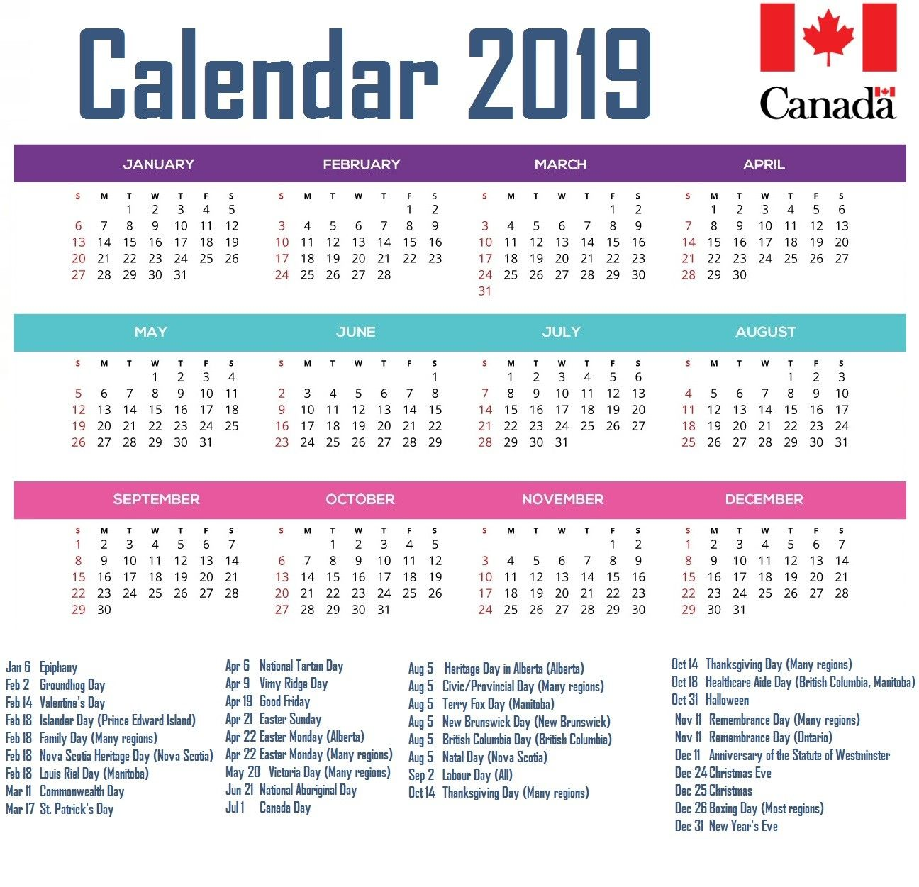 Canada 2019 Calendar With Holidays 2019 Calendars Pinterest