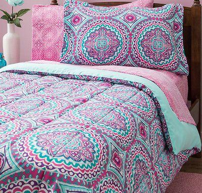 Pink Purple Aqua 8 Pc Twin Microfiber Comforter Set W Sheets Girls