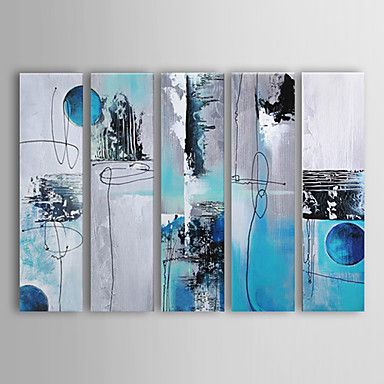 Hand-painted Abstract Oil Painting with Stretched Frame - Set of 5 – USD $ 129.99 Summers Room