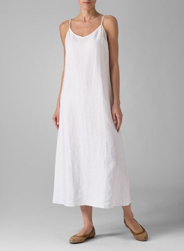 792278d96b9d7 Linen Spaghetti Strap Long Dress White | sew | Pinterest | Linens ...