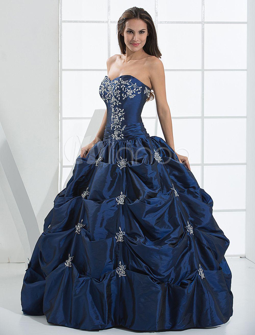 Royal blue ball gown beaded taffeta prom dress womenus fashion