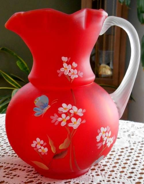 Fenton Ruby Satin Hand Painted Cannon Ball Pitcher 2011