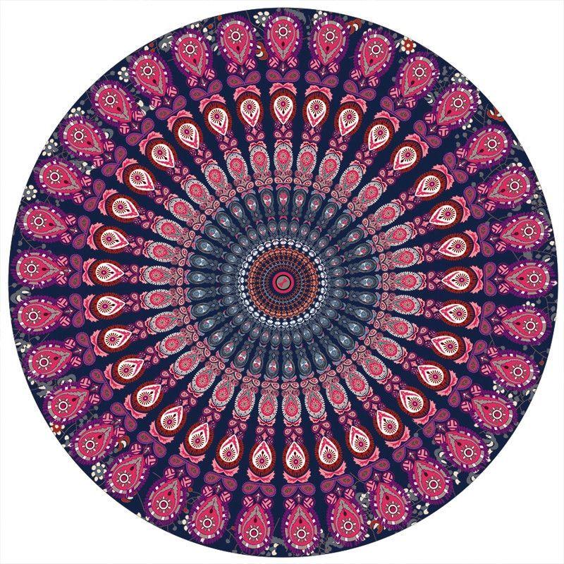 Bohemian Mandala Round Beach Tapestry Yoga Mat Towel Indian Blanket 150*150cm