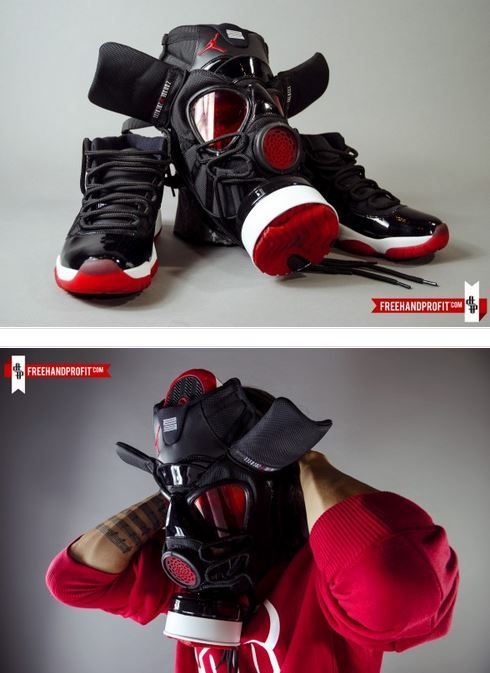 "the best attitude f79b0 70306 THE SNEAKER ADDICT  Air Jordan 11 ""Bred"" Gas Mask by Freehand Profit  (Detailed Images)"