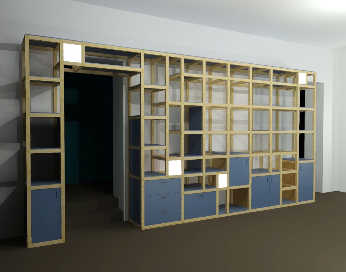 Librerie Componibili Torino.Libreria Modulare Componibile Con Scrivania A Penisola