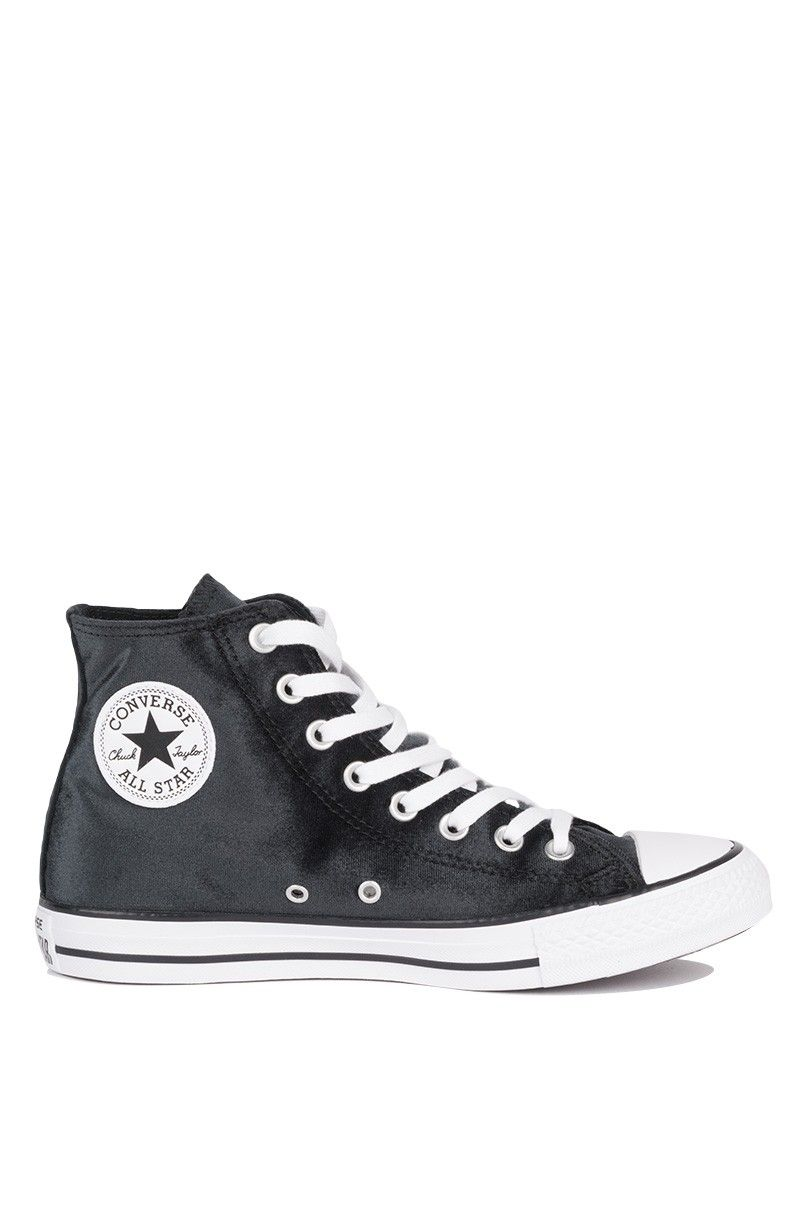 Side View Converse Chuck Taylor All Star Velvet High Top Sneakers in Black 3fd22d153