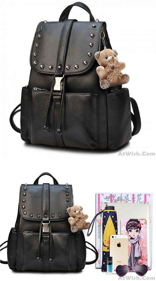 415564f6a7 Black Punk Rivet School Rucksack Bear Doll PU Travel Backpack for big sale!   backpack  bag  rivet  travel  Punk