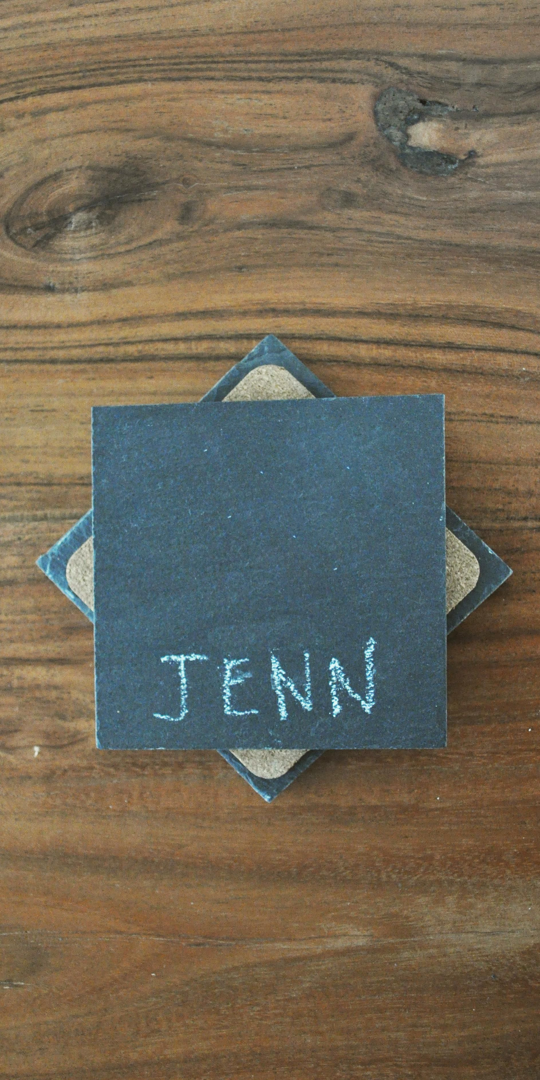 Stop mixing up drinks at your next party with these chalkboard slate coasters. Simply write your name on the coaster and never lose your drink again!
