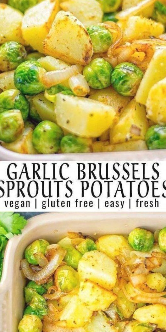 These Garlic Brussels Sprouts Potatoes are naturally vegan  gluten free and super easy to make  So delicious for the holidays  Christmas  as dinner  lunch  appetizer  side dish or meal preparation  and so much more  On its own or served with many other yummy things  enjoy  #vegan #glutenfree #dairyfree #vegetarian#contentednesscooking #brusselssprouts#potatoes #dinner #lunch #appetizer#sidedishes #christmas #holidays #thanksgiving #mealprep #worklunchideas