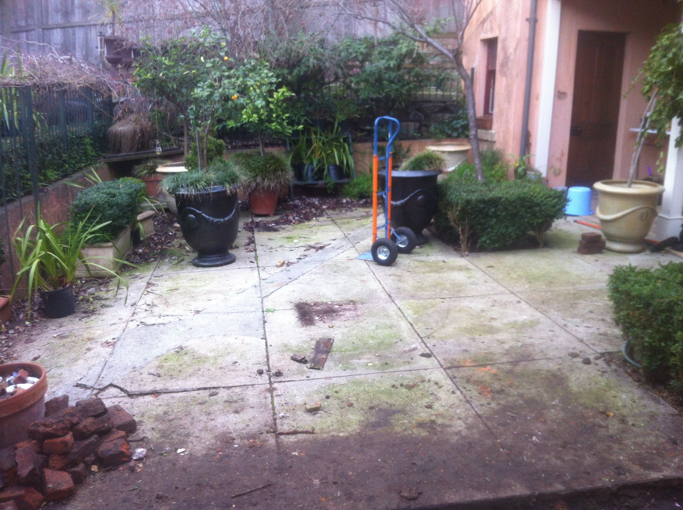 The courtyard about to undergo major sewage works...little did we realise the monster that was to be revealed August 2013