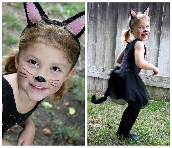 CHILD BLACK CAT KIT KITTY KITTEN ANIMAL COSTUME EARS COLLAR TAIL SET GIRLS KIDS