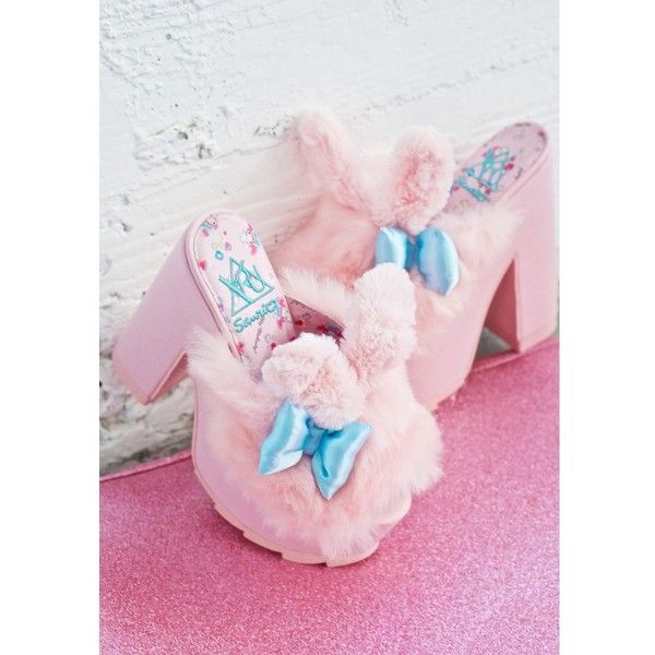 Y.R.U. X Sanrio My Melody Dream Platforms ($135) ❤ liked on Polyvore featuring shoes, platform mules, mule shoes, peep toe mule shoes, peep toe mules and peep-toe shoes