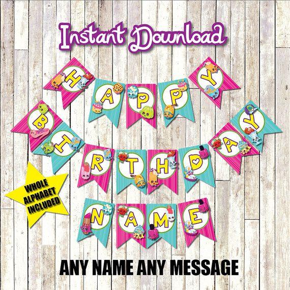 Shopkins Birthday Banner Shopkins Party Banner: Shopkins Birthday Banner Customizable Instant Download