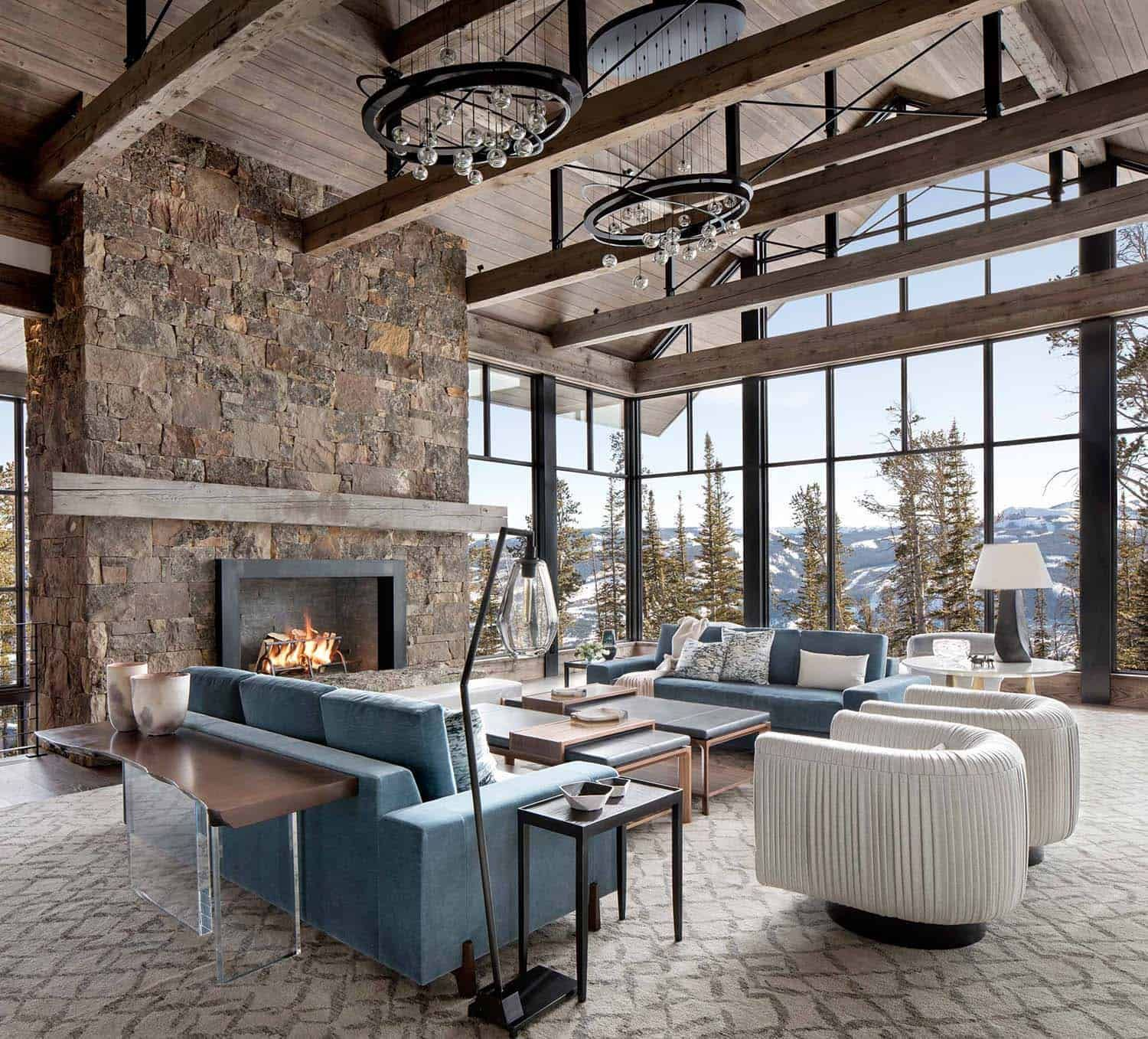 Modern Ski Home In Montana Boasts Views Of Snow Capped Mountains Cottage Interiors Cheap Home Decor House Interior