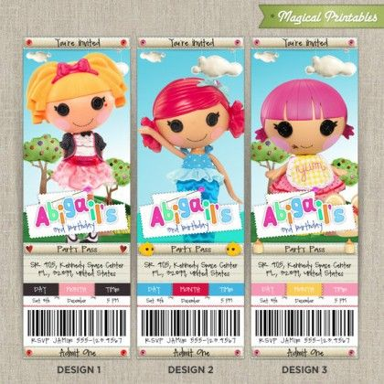 Personalized lalaloopsy birthday ticket invitation card grayces personalized lalaloopsy birthday ticket invitation card filmwisefo