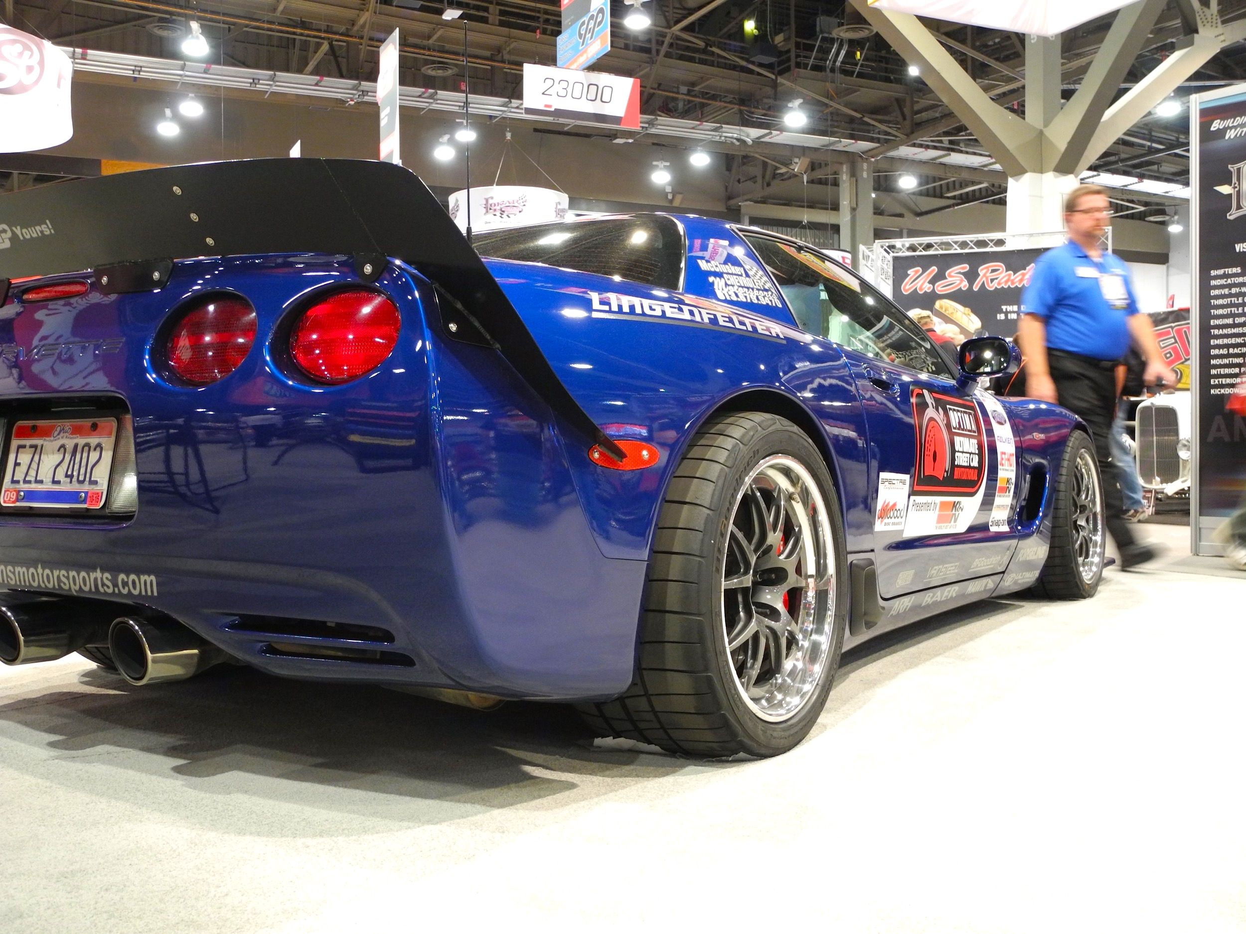 Danny Popp S Ousci Winning C5 Z06 At Champion S Corner In The Optima Batteries Booth At The 2015 Sema Show This Ling Corvette Corvette C5 Performance Racing