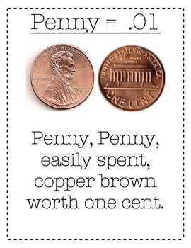 Coin Poem cent sign and decimal | * School * | Coins, Math place