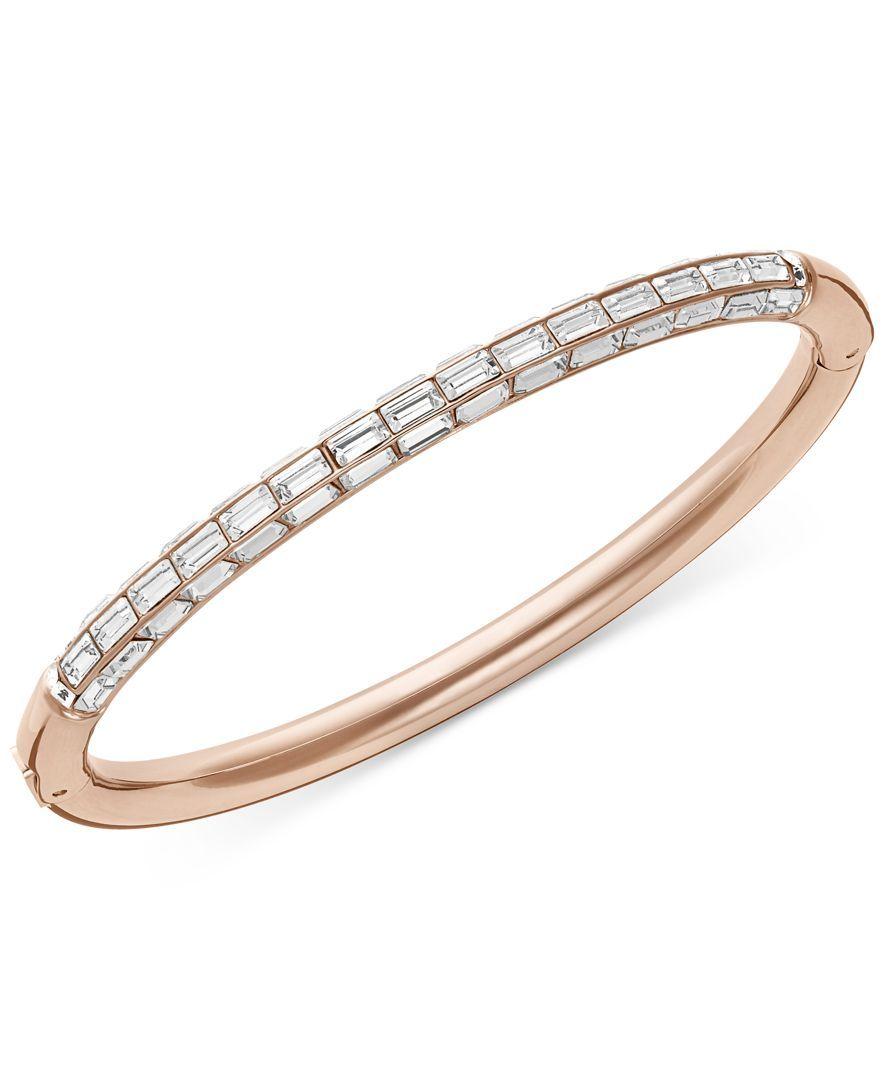 Swarovski rose goldtone domino crystal bangle bracelet products