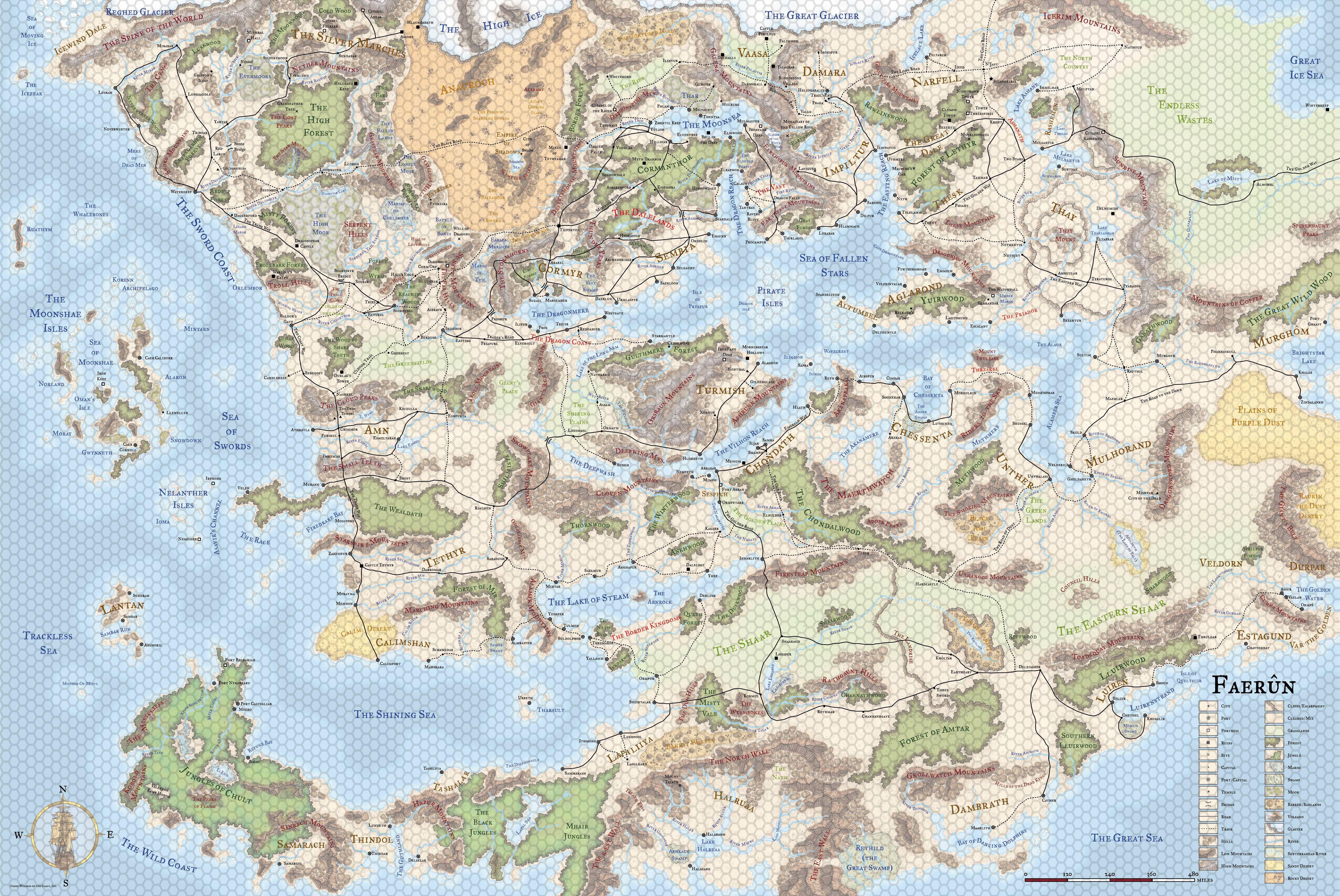 Faerun Map + Hex Overlay | D&D Maps in 2019 | Fantasy world ...