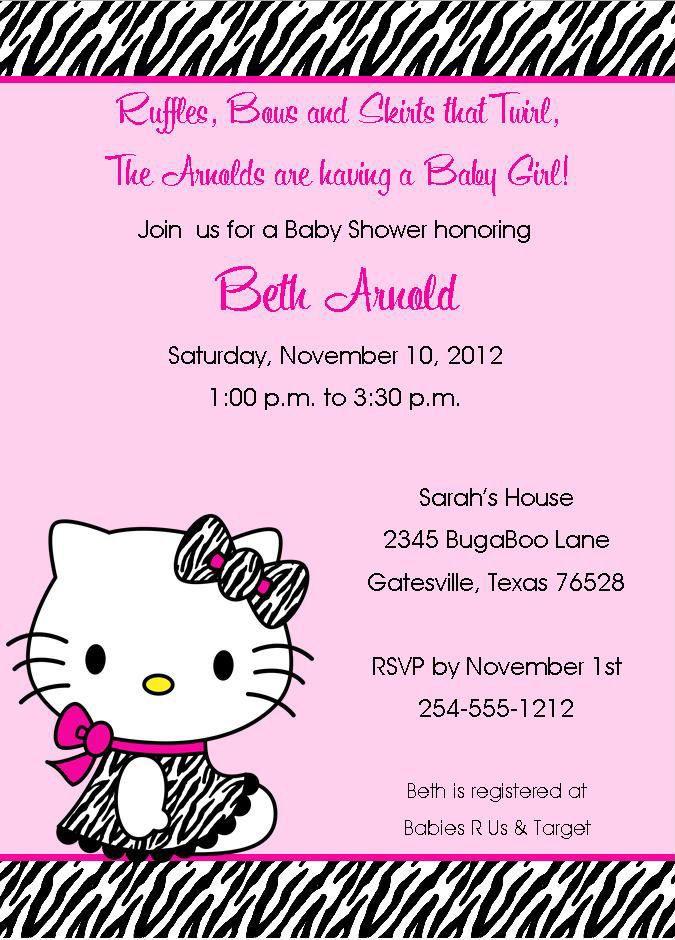 24 Zebra Hello Kitty Baby Shower/Birthday Invitations. $13.99, Via Etsy.