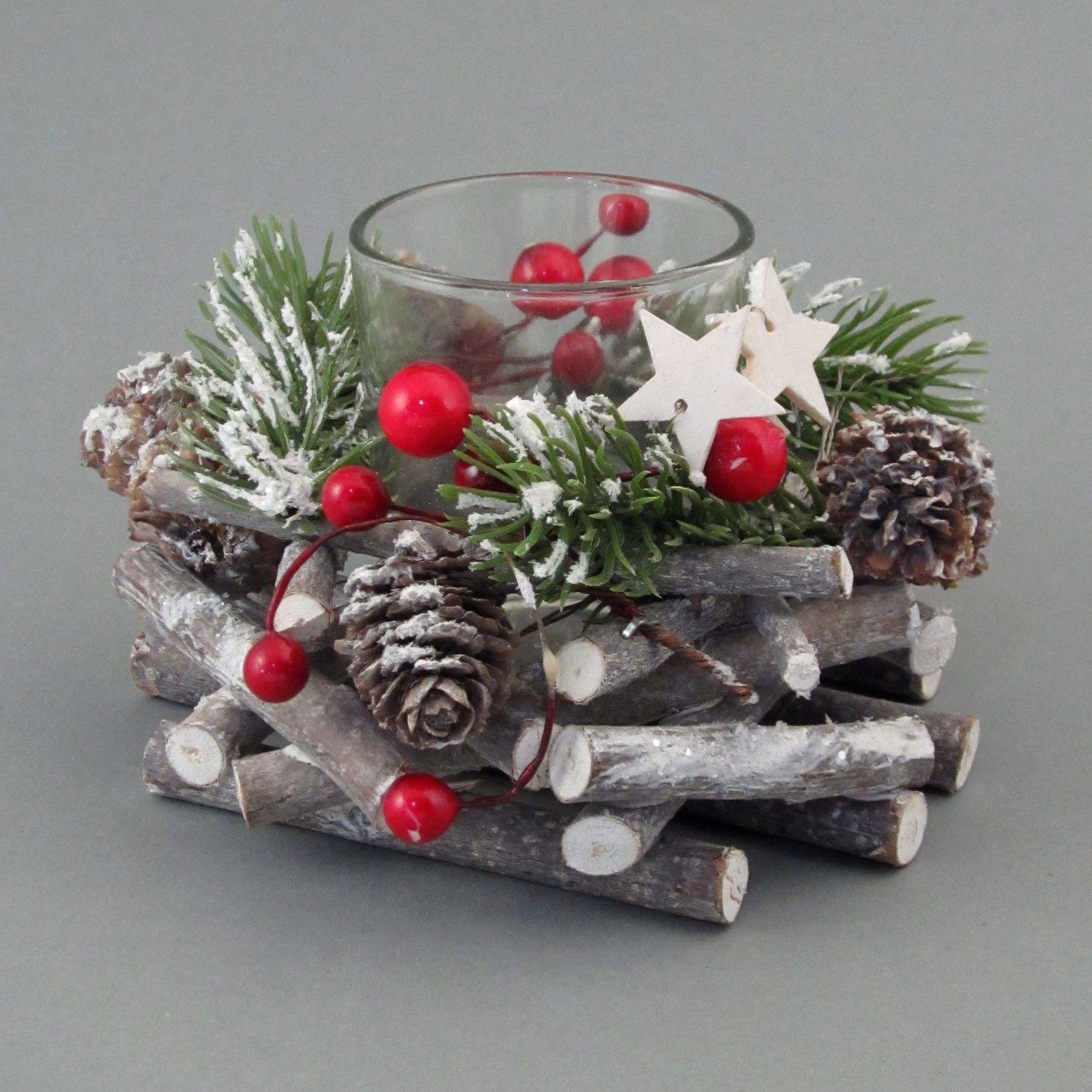 TEELICHT Holz Tanne Natur MIX mit Glas. Teelichtglas Weihnacht 13 cm. 9616518-00