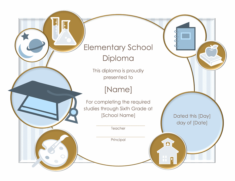School Diploma Certificate For Elementary Grade Templates I Love