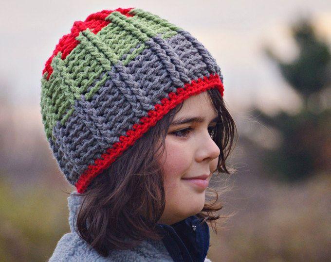da99f43b Custom Boys Striped Beanie, Textured Crochet Hat, Kids Winter Hat, Striped  Beanie, Winter Toque, Boys Hat, Mens Hat, Knit Hat