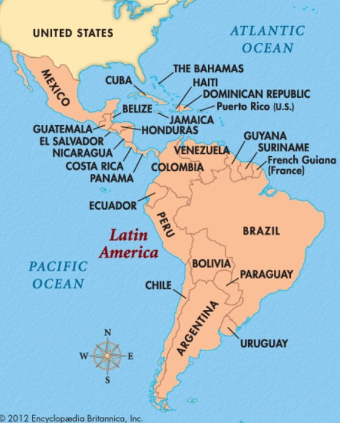 Map of Latin America, Central America Cuba, Costa Rica, Dominican
