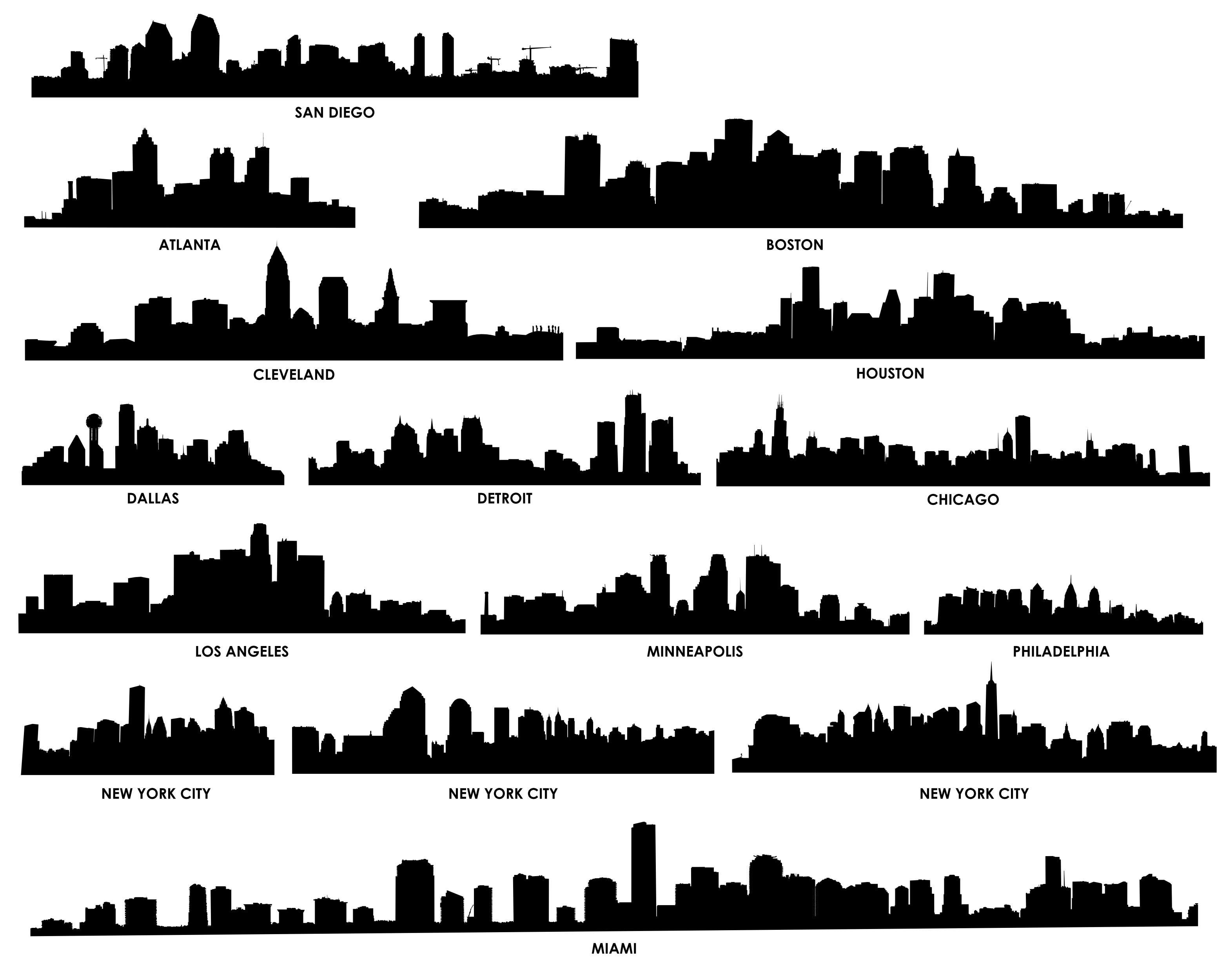City Skyline Silhouette 02 Download Vector City Silhouette Building Silhouette Cityscape Silhouette