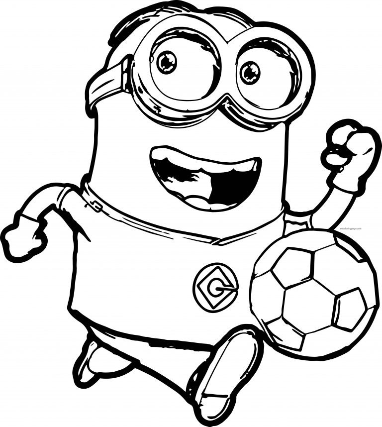Minions Running Soccer Player Coloring Pages Minion Coloring
