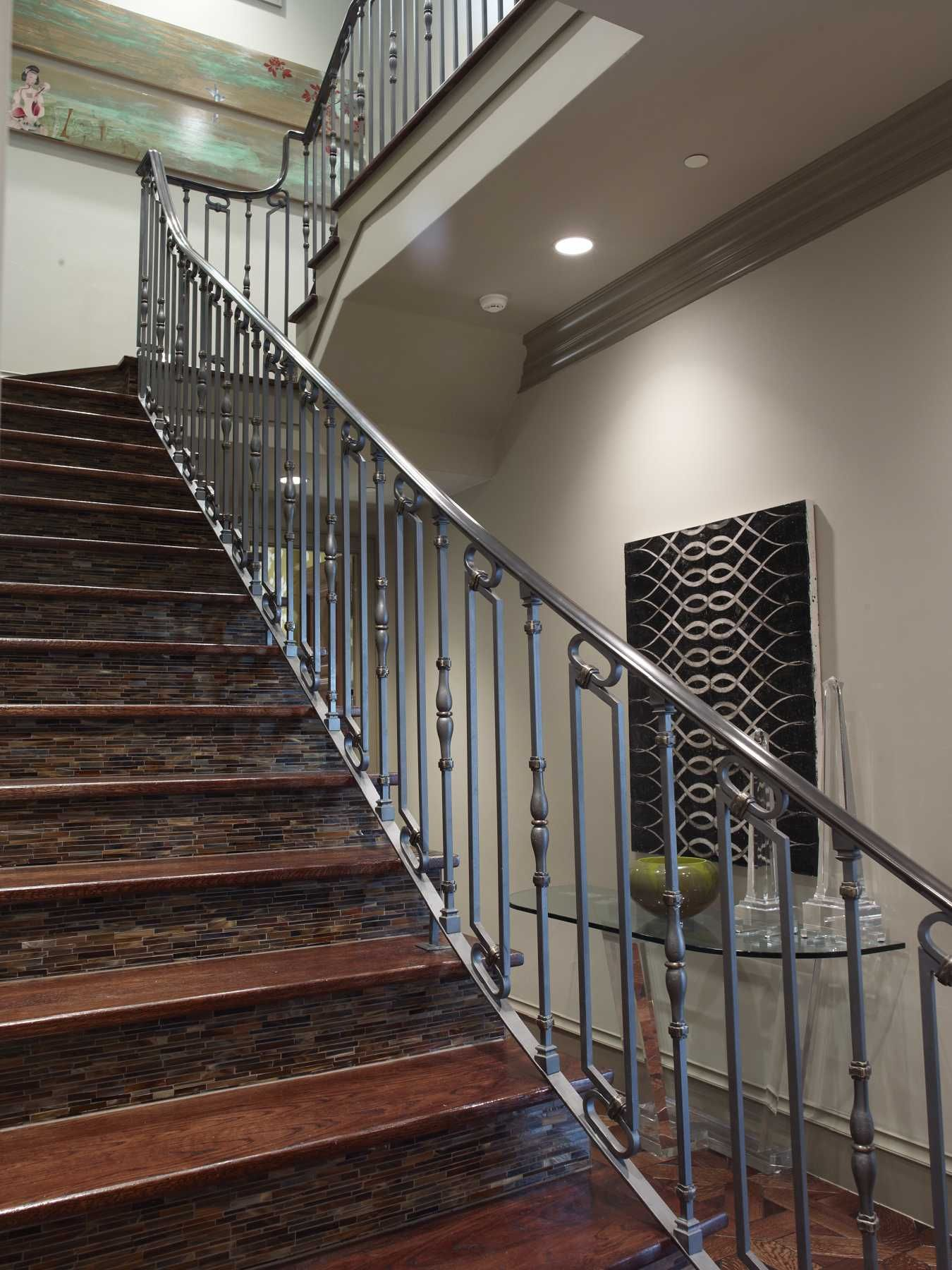 Best Wrought Iron Wood And Tile Staircase Platinumseries 400 x 300