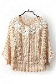 Beige Hollow Lace Single Breasted Batwing Sweater