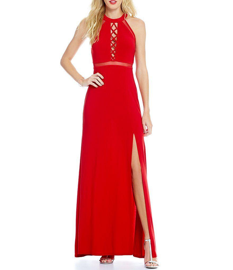 Morgan u co high neck laceup detail bodice long dress prom night