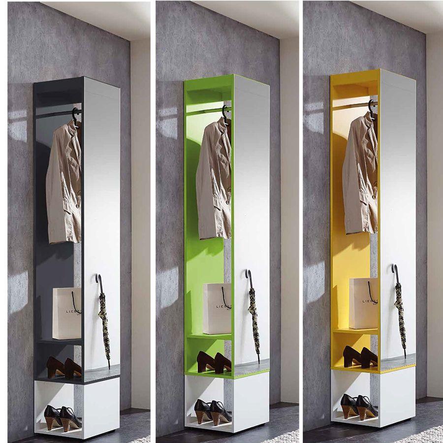 meuble d'entrée moderne blanc et gris | meuble d'entrée + miroir ... - Meuble Vestiaire Entree Design