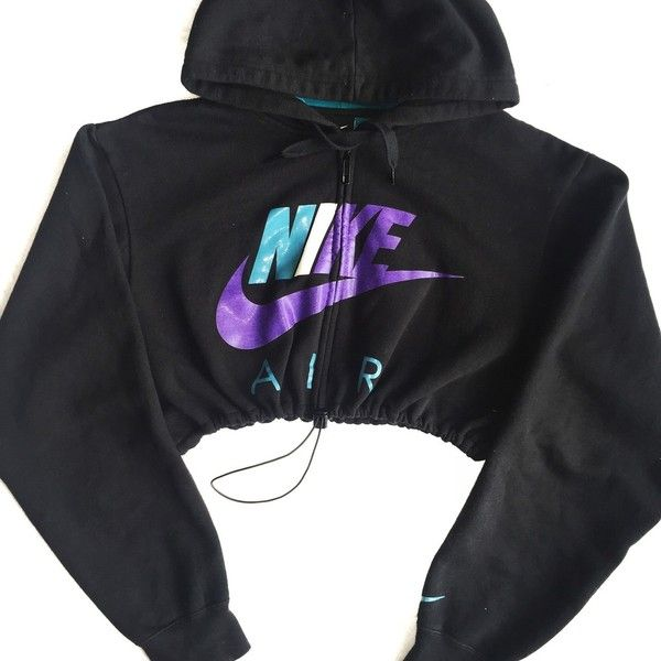 6d383a6101 Reworked Nike Zip Up Crop Hoody Grape ( 48) ❤ liked on Polyvore featuring  tops