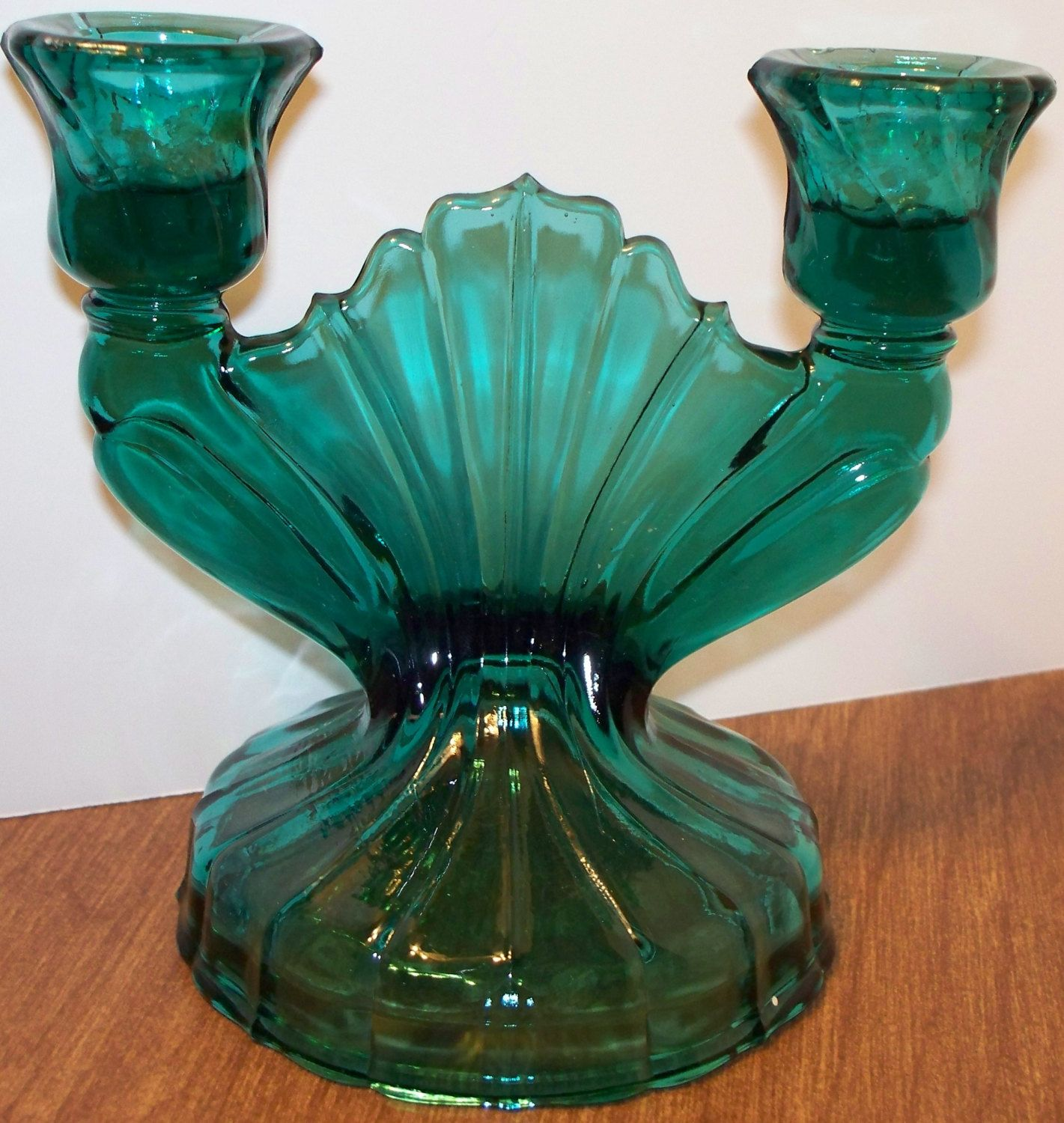 Vintage depression glass double candlestick jeanette glass company vintage depression glass double candlestick jeanette glass company teal glass candle holder candlabra swirled blue green glass reviewsmspy